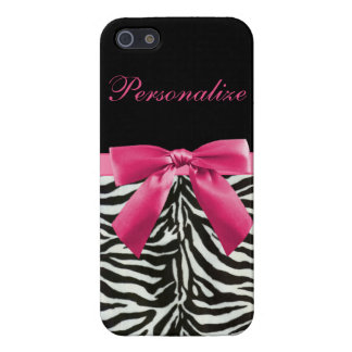Hot Pink Bow on Zebra Pattern Personalized Cover For iPhone SE/5/5s