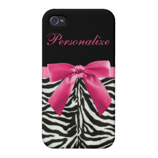 Hot Pink Bow on Zebra Pattern Personalized iPhone 4/4S Covers