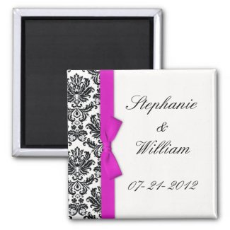Hot Pink Bow with Damask Save The Date Magnet magnet
