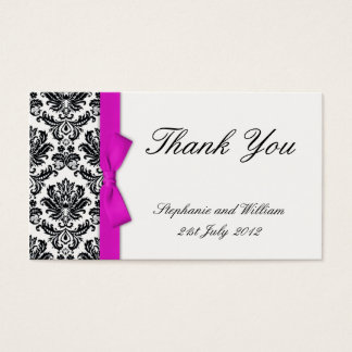 Hot Pink Bow with Damask Thank You Cards