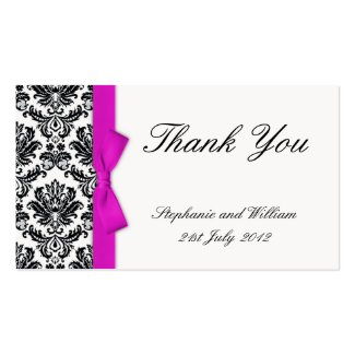 Hot Pink Bow with Damask Thank You Cards profilecard