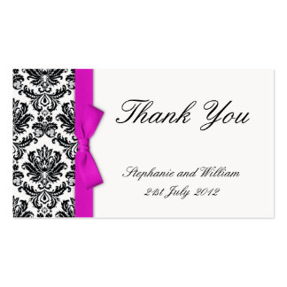 Hot Pink Bow with Damask Thank You Cards Business Card