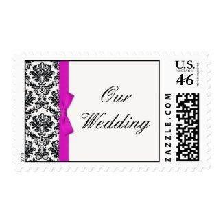 Hot Pink Bow with Damask Wedding Postage stamp