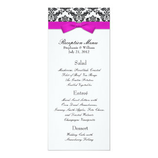 Hot Pink Bow with Damask Wedding Reception Menu Card