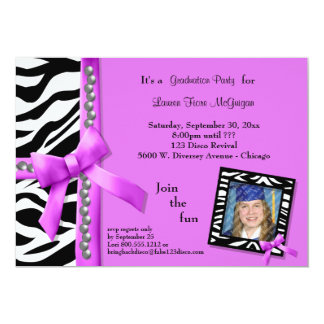 Hot Pink Bow With Pearls And White Zebra Stripes 5x7 Paper Invitation Card