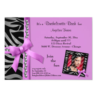 Hot Pink Bow With Silver Pearls And Zebra Stripes 5x7 Paper Invitation Card