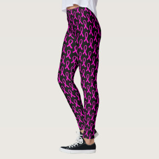 Hot Pink Breast Cancer Ribbon Pattern Leggings