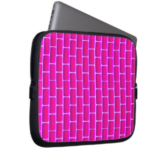 HOT PINK BRICKS BACKGROUND DIGITAL GRAPHICS LAPTOP COMPUTER SLEEVES