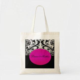 Hot pink bride and groom tote bag