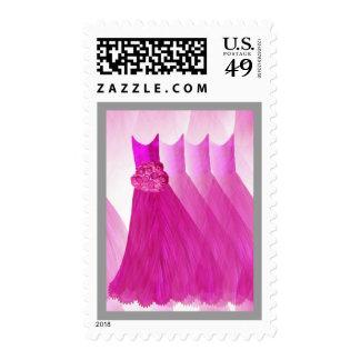 HOT PINK Bridesmaid Dresses SILVER Trim Postage Stamp
