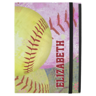 Hot Pink Bright Yellow Girls Softball iPad Pro Case