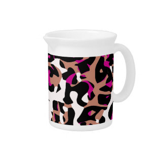 Hot Pink Brown Cheetah Abstract Drink Pitcher