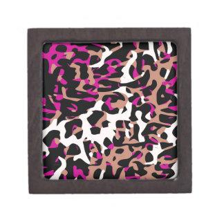Hot Pink Brown Cheetah Abstract Keepsake Box