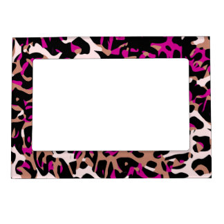 Hot Pink Brown Cheetah Abstract Magnetic Photo Frame