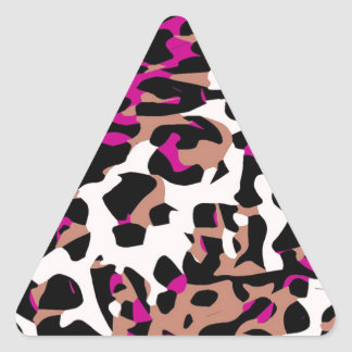 Hot Pink Brown Cheetah Abstract Triangle Sticker