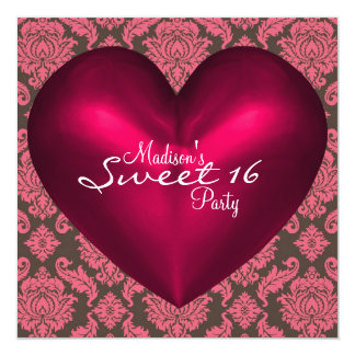 Hot Pink Brown Red Heart Damask Sweet 16 Party Card