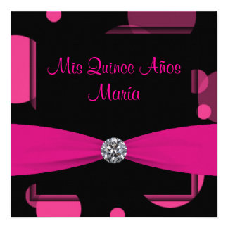 Hot Pink Bubbles Quinceanera 15th Birthday Personalized Invitations
