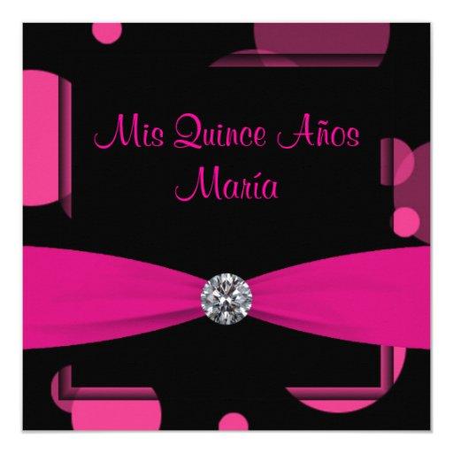 Hot Pink Bubbles Quinceanera 5.25x5.25 Square Paper Invitation Card