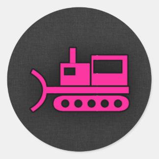 Hot Pink Bulldozer Classic Round Sticker