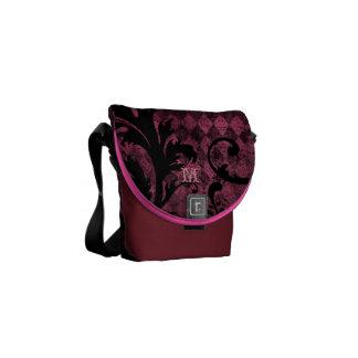 Hot Pink Burgundy Vintage Swirl Argyle Pattern Courier Bag