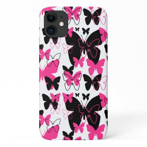 Hot Pink Butterfly Girl iPhone 11 Case