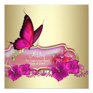 "Hot Pink Butterfly Graduation Announcements 5.25"" Square Invitation Card"