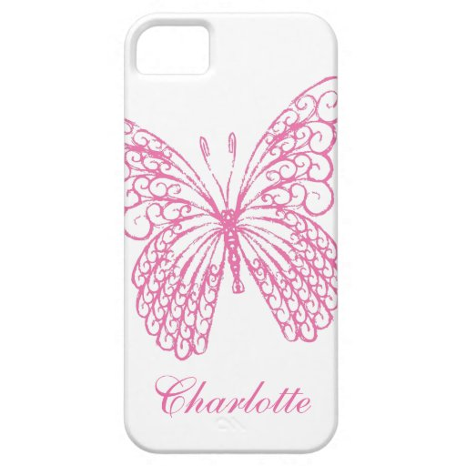 Hot Pink Butterfly iPhone 5Case-MateBarelyThere iPhone 5 Covers