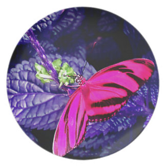Hot Pink Butterfly on Bright Purple Plant Melamine Plate