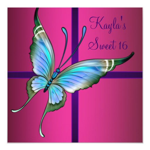 Hot Pink Butterfly Sweet 16 Party 5.25x5.25 Square Paper Invitation Card
