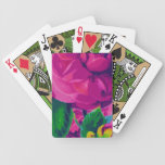 Hot Pink Cabbage Roses Bicycle Poker Cards