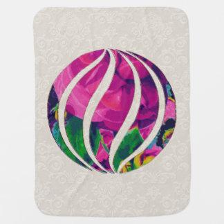 Hot Pink Cabbage Roses Motif Stroller Blanket