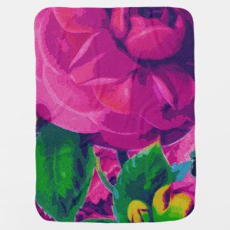 Hot Pink Cabbage Roses Swaddle Blanket