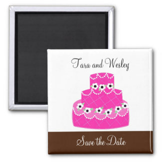 Hot Pink Cake Save the Date Magnet