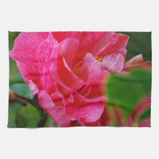 Hot Pink Camelia Flower Kitchen Towel