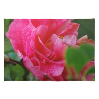 Hot Pink Camelia Flower Placemat