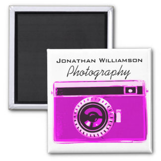 Hot Pink Camera Photography Business Magnet