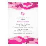 Hot Pink Camo Baby Shower Invitation with feet
