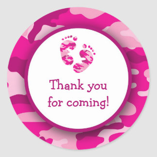 Hot Pink Camo Baby Shower Stickers / Camouflage