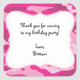 Hot Pink Camo Birthday Party Favor Label Sticker