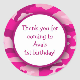 Hot Pink Camo Birthday Party Favor Stickers