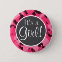 Hot Pink Camo; Camouflage Button