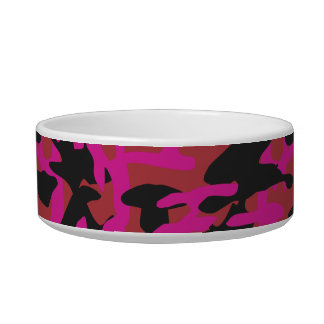 Hot pink camo pattern bowl