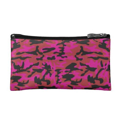 Hot pink camo pattern cosmetic bag