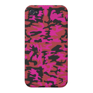 Hot pink camo pattern iPhone 4 cases