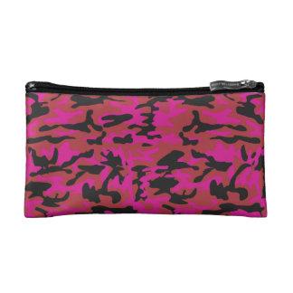 Hot pink camo pattern makeup bag