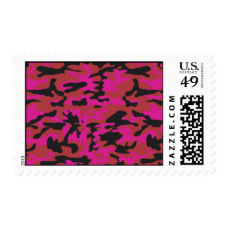 Hot pink camo pattern postage