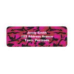 Hot pink camo pattern return address label