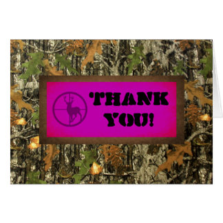 Hot Pink Camo Thank You Card