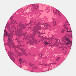 Hot Pink Camo Unique Camouflage Design Pattern Classic Round Sticker