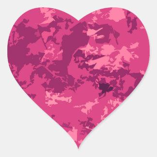 Hot Pink Camo Unique Camouflage Design Pattern Heart Sticker